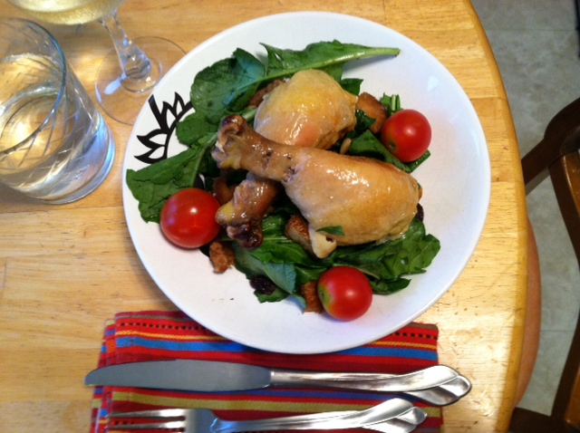 Roasted Chicken with Bread Salad and Arugula