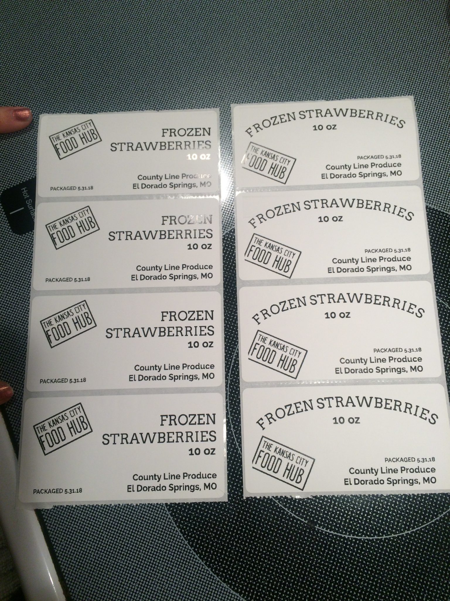 samples of frozen strawberry labels