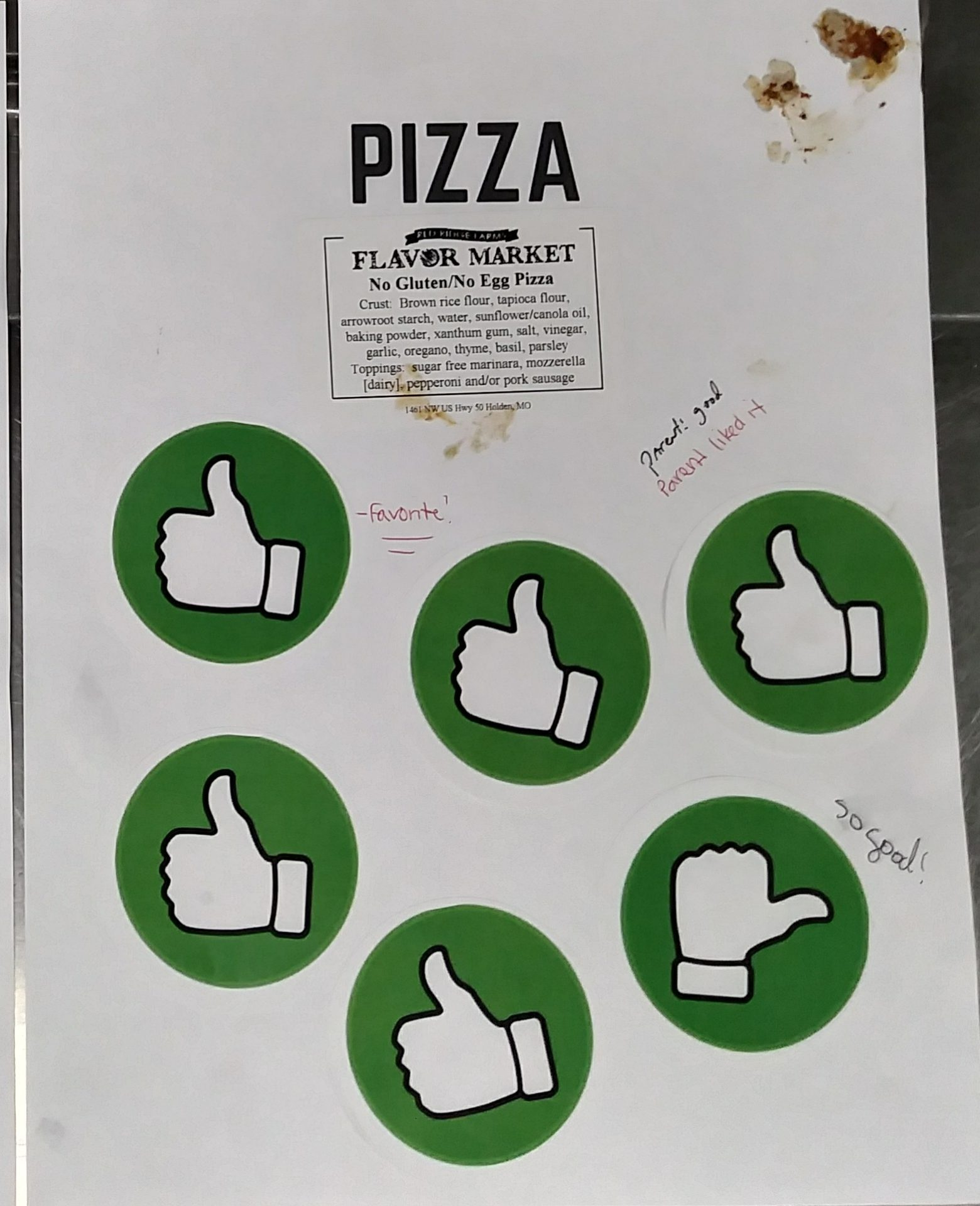 5student eval of pizza
